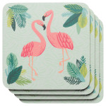 Flamingos Cork-Backed Coasters <br> Set of 4
