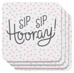 Sip Sip Hooray Cork-Backed Coasters <br> Set of 4