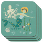 Mermaids Cork-Backed Coaster Set