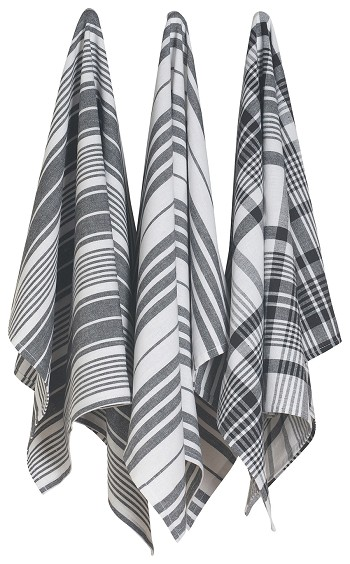 Black Jumbo Dishtowels <br> Set of 3