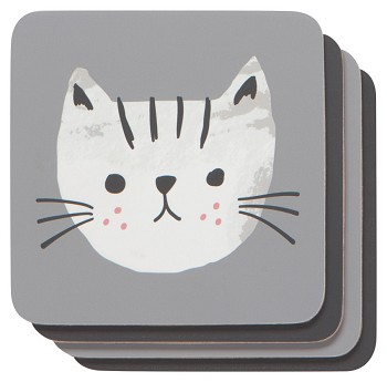 Cats Meow Cork-Backed Coasters <br> Set of 4