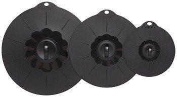 Black Silicone Lids <br> Set of 3